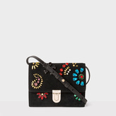 Paul Smith Women's Black Mini 'Concertina' Suede Satchel With Jewel Embellishments