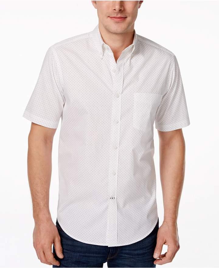 Club Room Men's Big and Tall Dot Print Short Sleeve Shirt