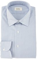 Neiman Marcus Multi Check-Print Woven Dress Shirt, Blue