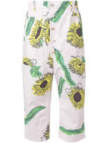 Julien David Sunflower Print Cropped Trousers - Yellow/orange - Size XS