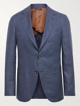 Loro Piana Blue Unstructured Linen Blazer