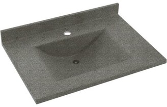 "Swan Contour Solid Surface 25"" Single Bathroom Vanity Top Top Finish: Night Sky"