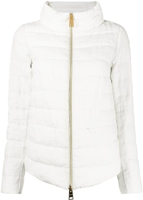 Herno Zipped Up Linen Padded Jacket