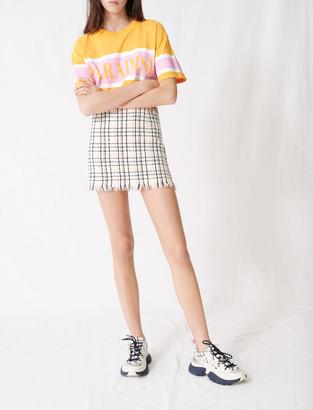 Maje Tweed-style mini skirt with fringing