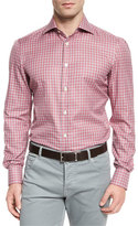 Kiton Check Woven Sport Shirt, Red/Camel