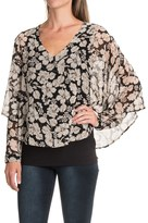 August Silk Chiffon Overlay Blouse - Long Sleeve (For Women)