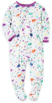 Carter's Rainbow Dinosaur Zip-Front Footed Pajamas in White