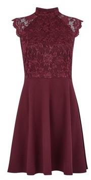 Dorothy Perkins Womens **Wine High Neck Skater Dress