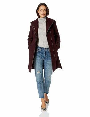 T Tahari Women's Elaine Boiled Combo Wool Coat