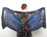 Shovava Dark wings Designer Shawl, Scarf, Hand Painted Wrap, Oversized Scarf Gift