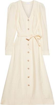 Iris & Ink Adrienne Belted Crinkled-crepe Midi Dress