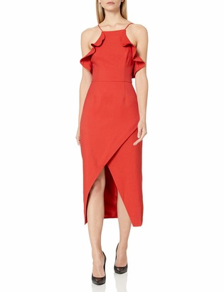 C/Meo Women's Affinity Sleeveless Ruffle Trim Midi Sheath Dress