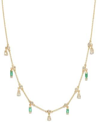 Ileana Makri Diamond, Emerald & 18kt Gold Drop Necklace - Green Gold