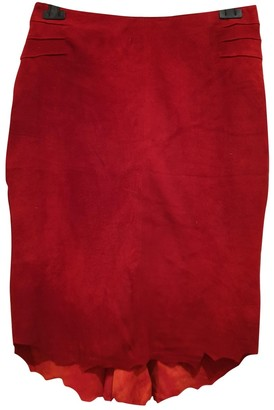 Roberto Cavalli Red Suede Skirt for Women