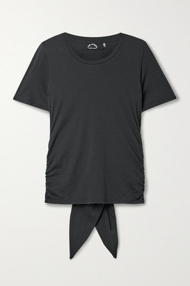 The Upside Camille Tie-back Ruched Cotton And Modal-blend Jersey T-shirt - Black