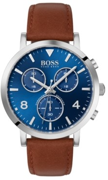 BOSS Men's Chronograph Spirit Brown Leather Strap Watch 41mm