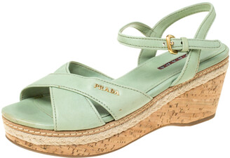 Prada Sport Prada Green Leather Ankle Strap Platform Espadrille Sandals Size 36