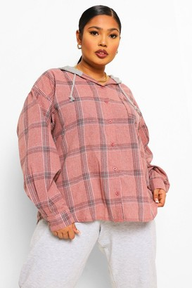 boohoo Plus Check Hoodie Overshirt