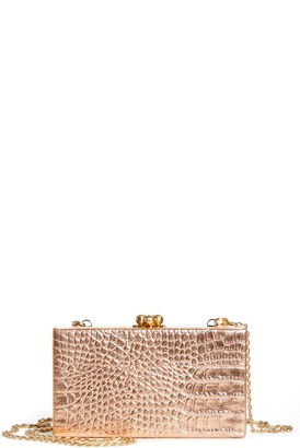 Edie Parker Jean Embossed Leather Box Clutch