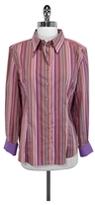Robert Graham Striped Cotton Blend Button Down Shirt