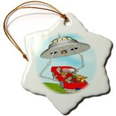 3dRose LLC orn_2930_1 Londons Times Funny Aliens Cartoons - Illegal Abducted Aliens - Ornaments