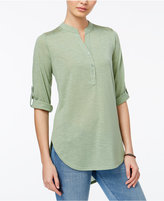 Almost Famous Juniors' Lace-Trim Henley Tunic