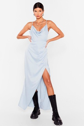 Nasty Gal Womens Lemme Cowl You Back Satin Maxi Dress - Powder Blue