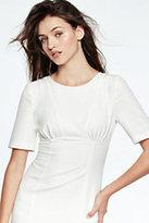 Lands' End Women's Elbow Sleeve Dress-White Dahlia Brush Stroke