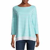 ST. JOHN'S BAY St. John's Bay 3/4 Sleeve Boat Neck Stripe T-Shirt-Womens Talls