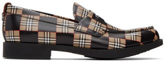 Burberry Black and Beige Emile Checkerboard Loafers