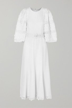 Andrew Gn Belted Lace-trimmed Appliqued Crepe Midi Dress - White