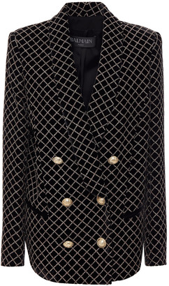 Balmain Double-breasted Glittered Velvet Blazer