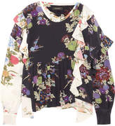 Isabel Marant Inny Pleated Floral-print Silk Crepe De Chine Wrap Blouse - Black