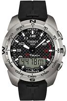 Tissot T0134204720200 T-touch Expert Quartz Chronograph Altimeter Rubber Strap Watch, Black