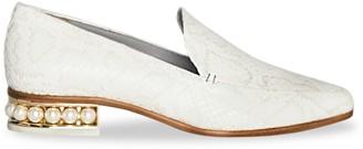 Nicholas Kirkwood Casati Faux Pearl Snakeskin-Embossed Leather Loafers