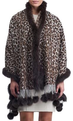 Gorski Leopard-Print Double Face Cashmere Stole with Fox Fur Trim