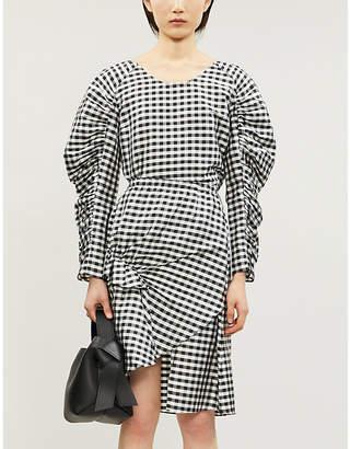 Designers Remix Alexis gingham ruffle-trim silk mini skirt