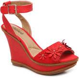 J. Renee Women's Alawna Wedge Sandal -Red Embossed Faux Leather