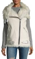 IRO Lamb Shearling-Trimmed Asymmetrical Zip Vest