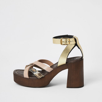 River Island Pink leather toe thong platform sandals