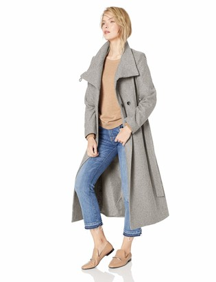 Kenneth Cole New York Women's full length button fencer coat with belt Outerwear