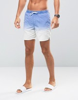 Asos Swim Shorts In White With Acid Wash Dip Dye In Mid Length