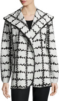 Neiman Marcus Faux-Leather-Trim Barbed Wire Printed Cardigan, Black/White
