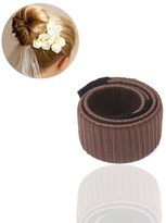 baiyi Hair Fold Wrap Snap ,Hair Bun Making Styling French Twist Donut Bun Hairstyle Tool for Women and Girls(dark brown)