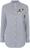 Equipment embroidered striped shirt