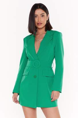 Nasty Gal Womens Never Too Busy Belted Blazer Dress - Green - L