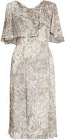 Gina Bacconi Baroque metallic stripe chiffon dress