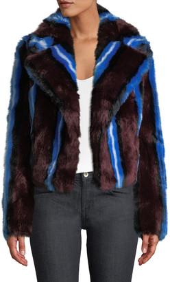 Diane von Furstenberg Long-Sleeve Collared Faux-Fur Jacket