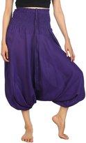 Lofbaz Women's Rose 2 Smocked Waist Flower 2 in 1 Harem Pants Jumpsuit Purple S
