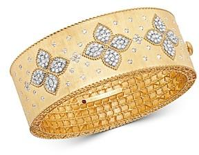 Roberto Coin 18K Yellow Gold & 18K White Gold Venetian Princess Diamond Wide Bangle Bracelet